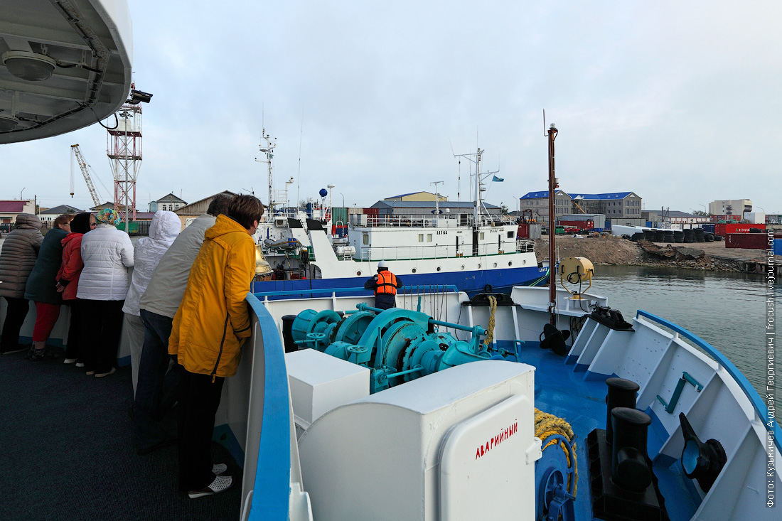 теплоход Русь Великая прибывает в порт Баутино Казахстан