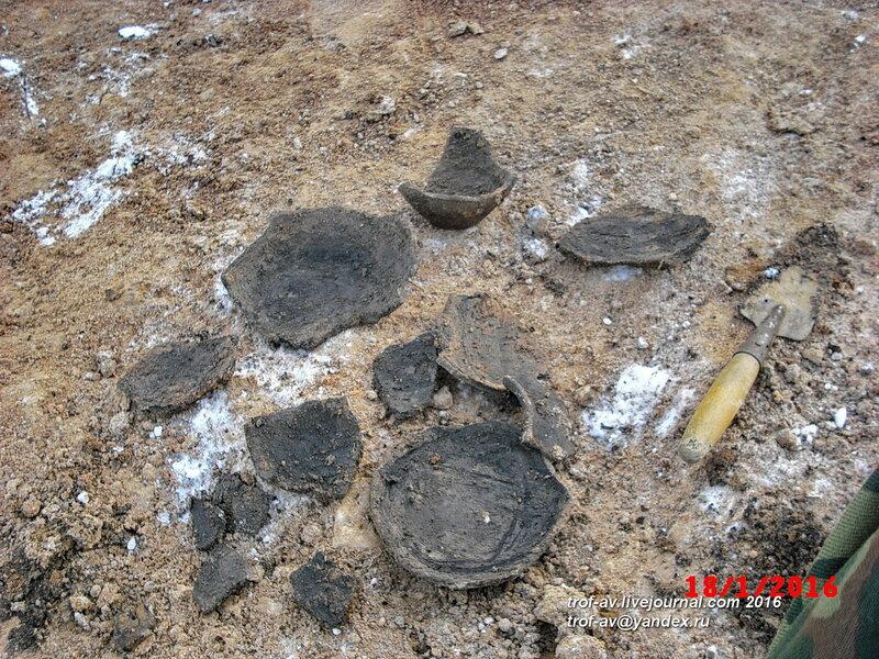 Найденная керамика средних веков, охранные раскопки в Кубинке, январь 2016