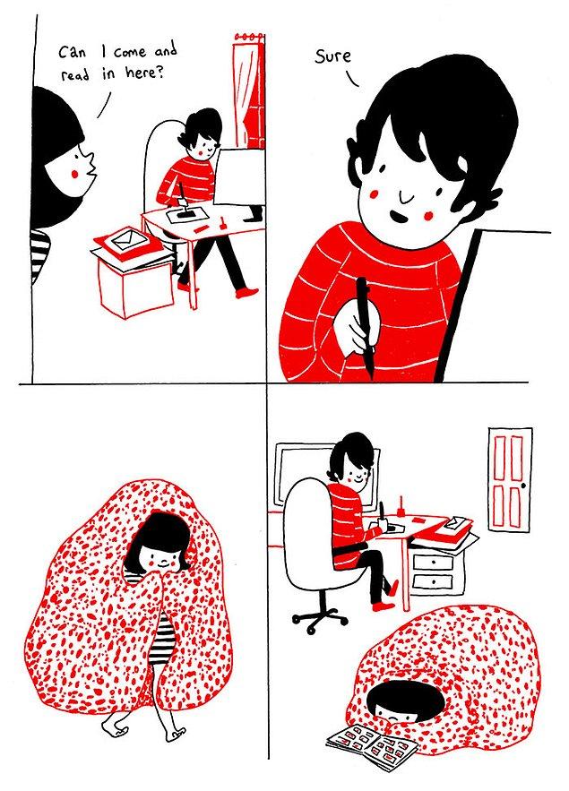 Любовь - когда каждый занимается своими делами, находясь в одной комнате