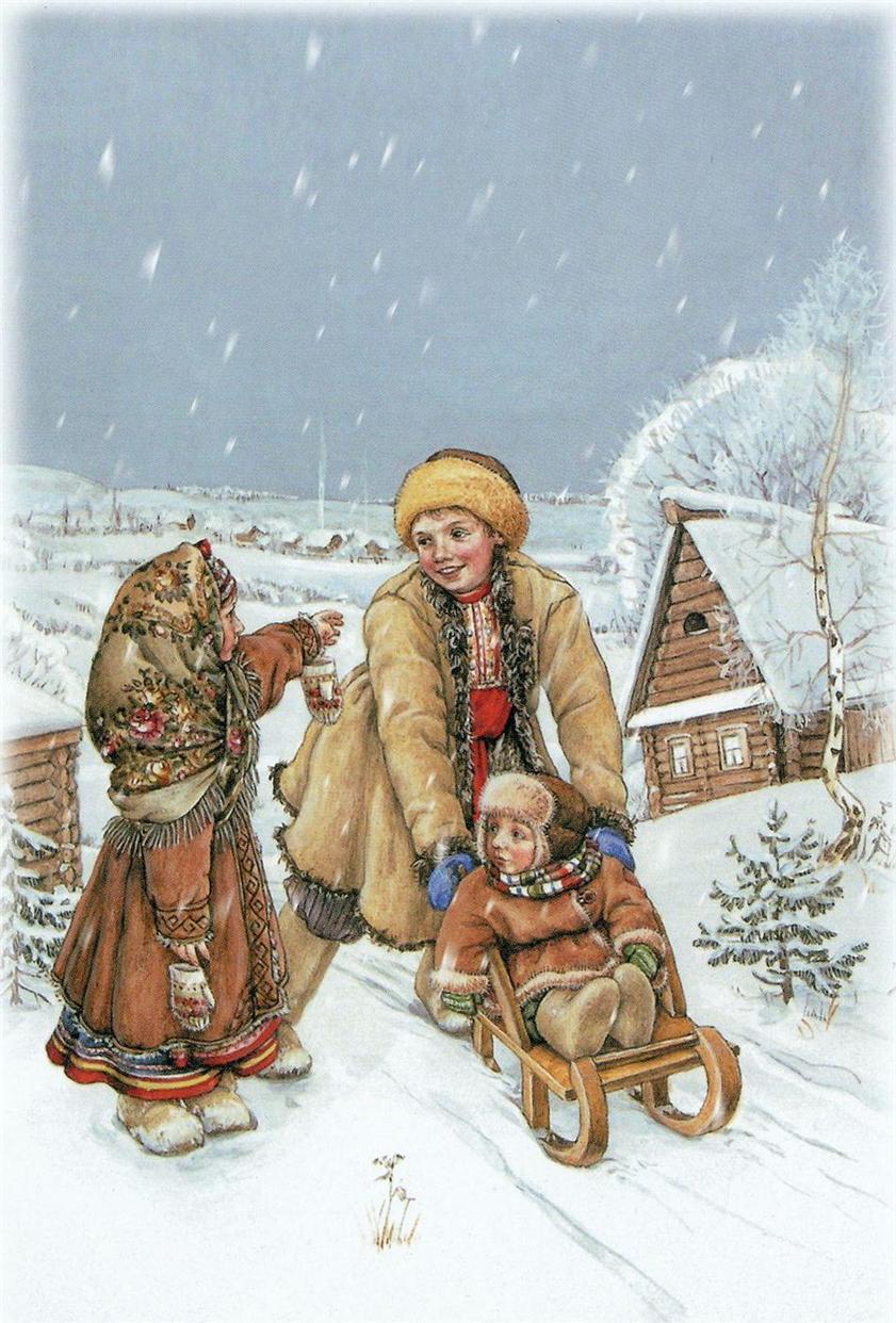 Картинки зима для детей открытки
