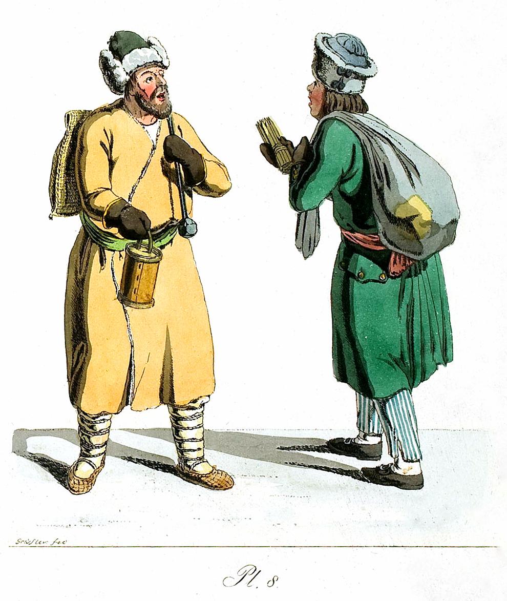 8. Schwefelhölzchenverkäufers und eines Kaviarverkäufers / Продавец шведских спичек и продавец икры.