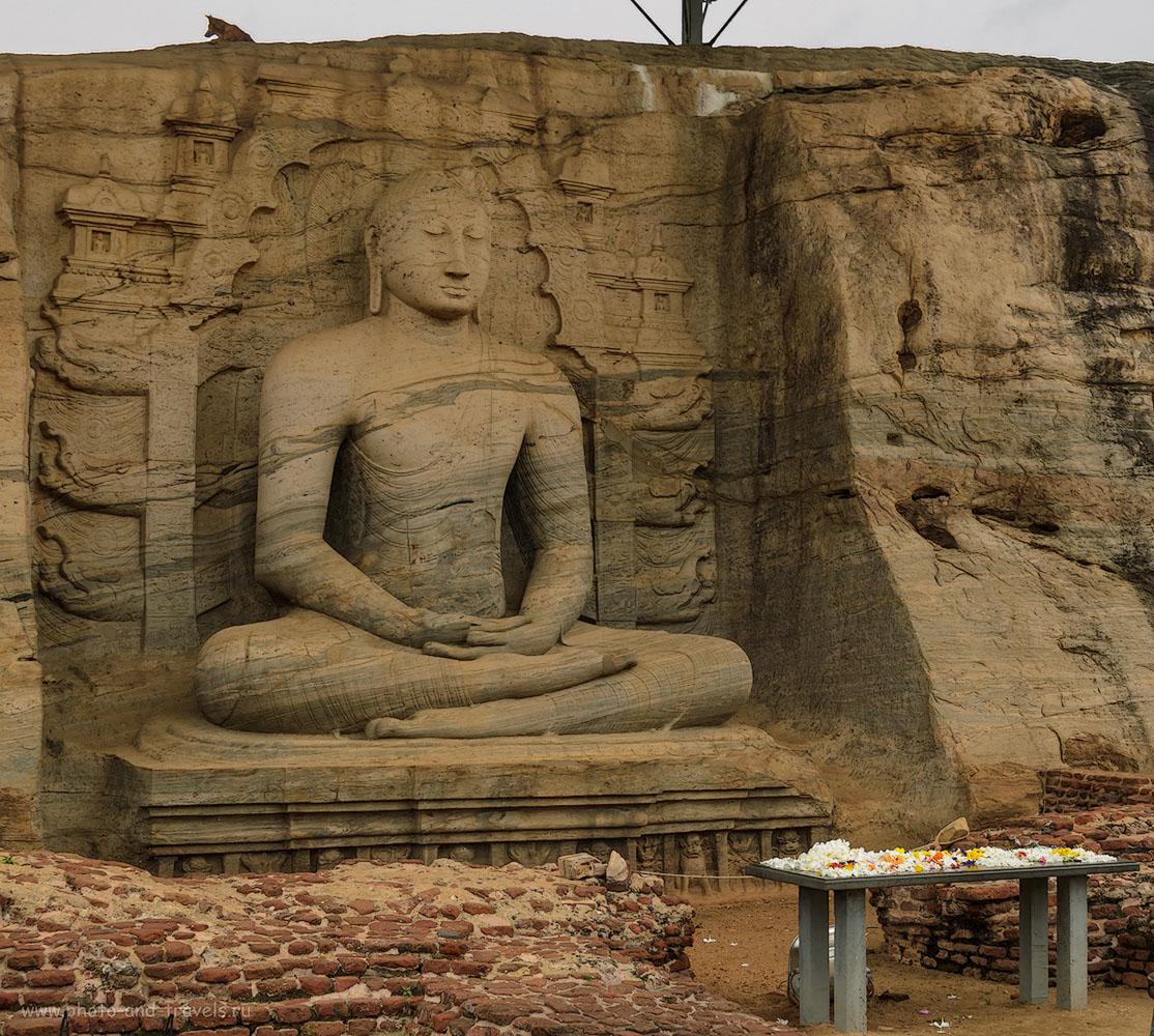 Фотография 13. Будда в скале в археологическом комплексе Polonnaruwa на Шри-Ланке.