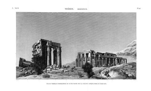 Рамессеум, храм фараона Рамсеса II, Египет, вид на руины с северо-востока, гравюра