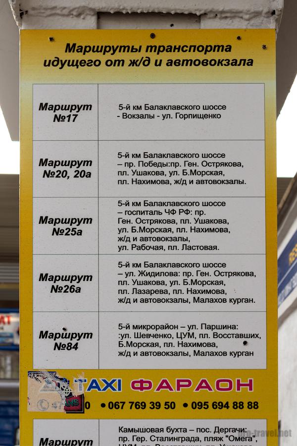 Севастополь. Вокзал. Маршруты транспорта