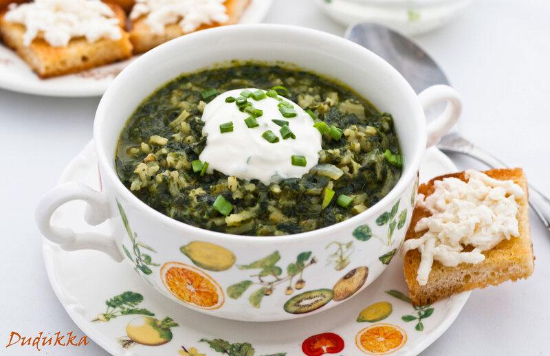 Суп из риса и шпината