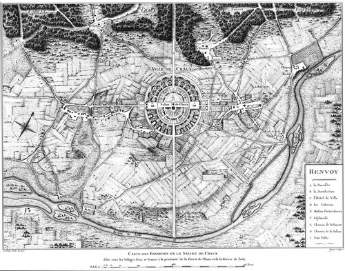 Ситуационный план идеального города Шо, архитектор Клод Леду, план
