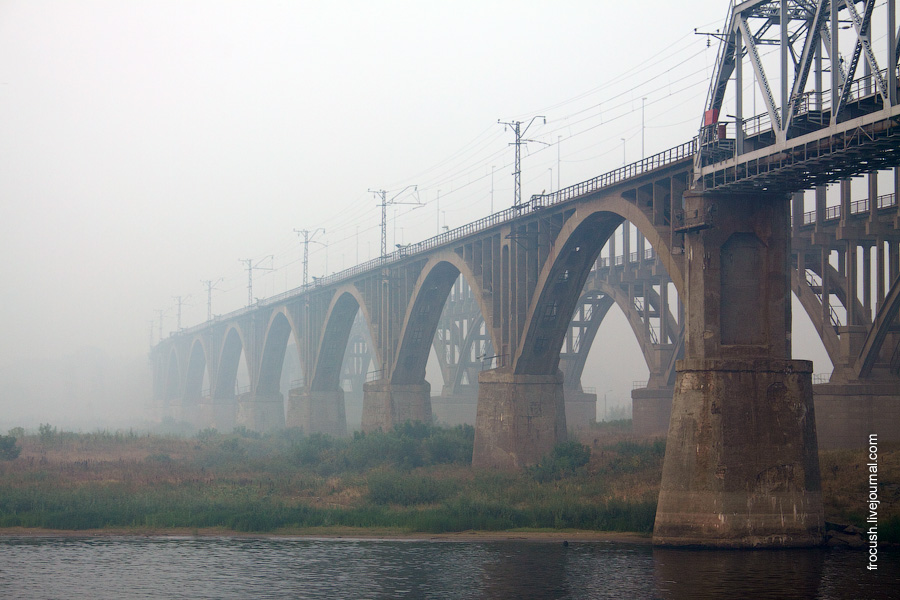 Борские мосты в смоге 15 августа 2010 года