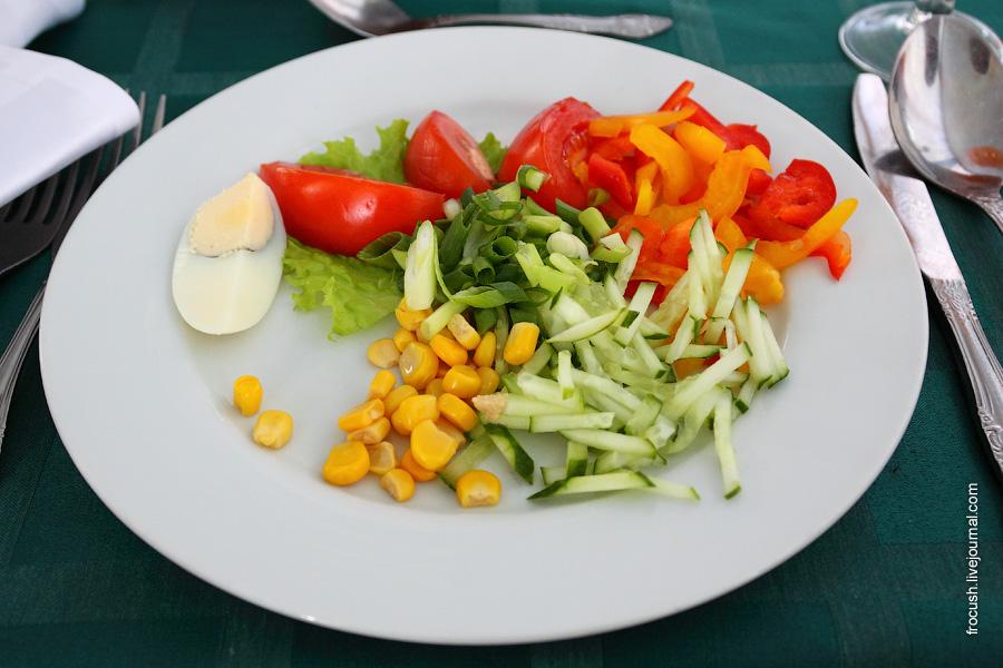 Салат «Пестрый набор» (огурцы, помидоры, кукуруза, болгарский перец, зеленый лук, яйцо, лист салата, сметана, майонез, зелень)