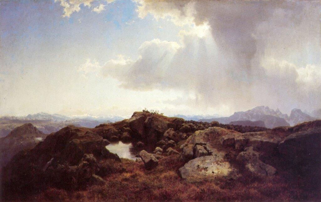 Hans Gude--Hoyfjellslandskap Med Opptrekkende UV Aer--1848..jpg