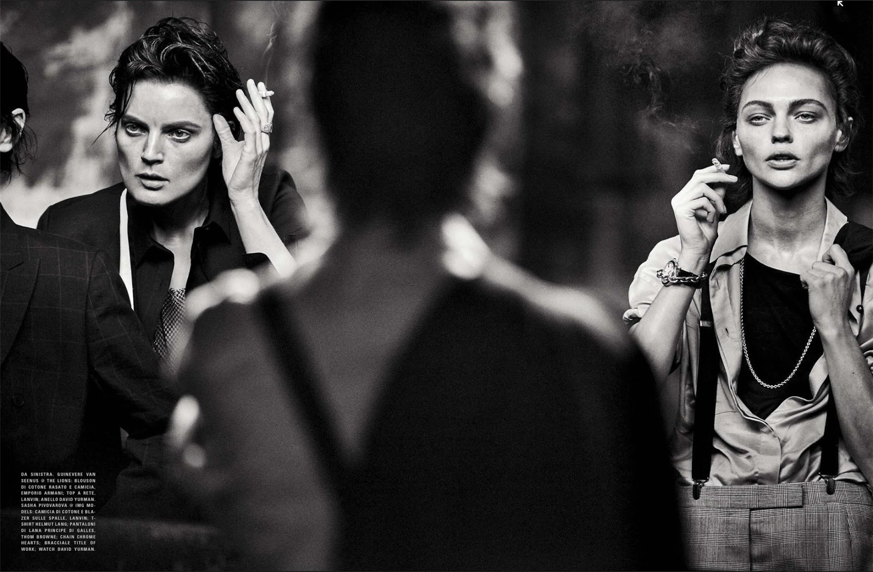 Sasha Pivovarova, Guinevere Van Seenus, Steffy Argelich, Kirsten Owen / Lunch in Brooklyn by Peter Lindbergh in Vogue Italia may 2015