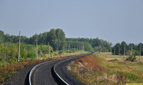Перегон САХАРОЗАВОДСКАЯ - КАРЛАМАН. Вид в сторону станции КАРЛАМАН.