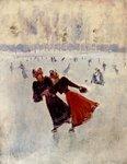 "Women SkatingOil on panel32.3 x 40 cm(12.72"" x 15¾"")Public collection"