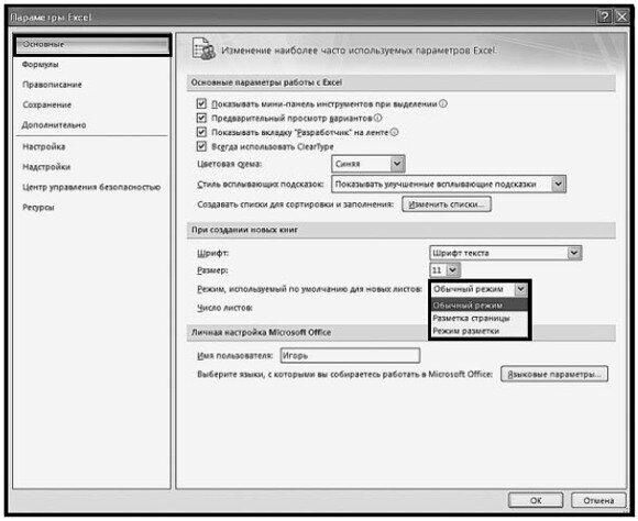 Рис. 2.5. Окно «Параметры Excel». Список режимов по умолчанию