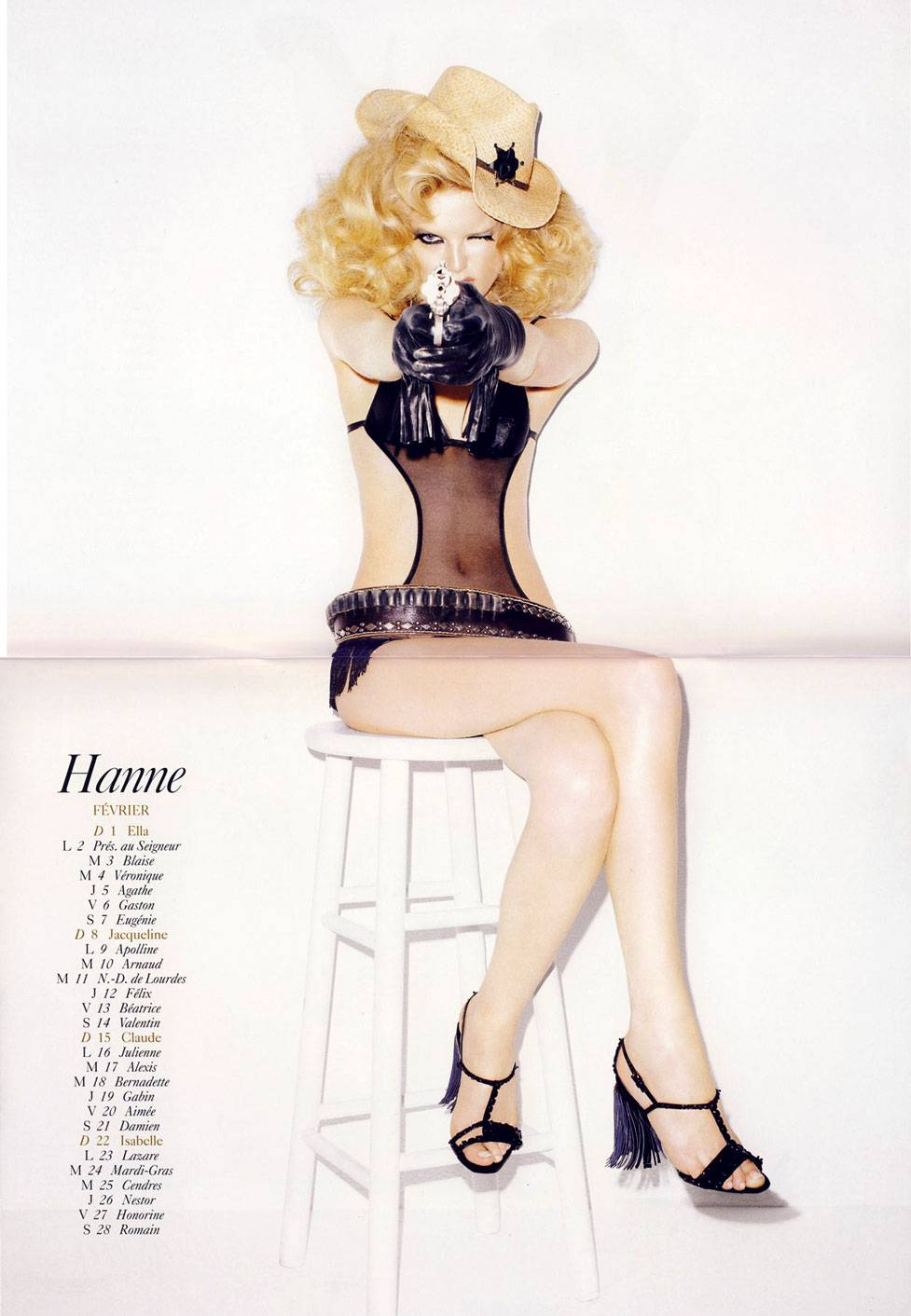 French Vogue 2009 calendar by Terry Richardson - февраль. Hanne