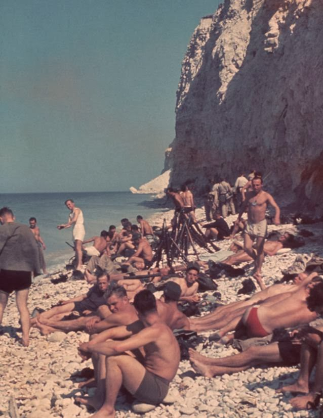 German soldiers at the beach near boulogne France swimming.jpg