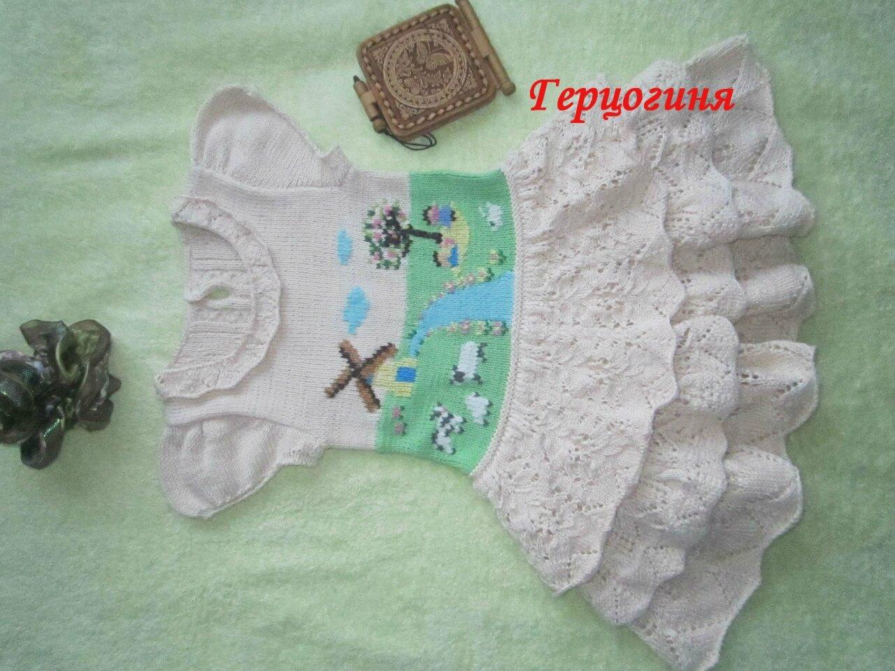 Вязание на осинке детское платье спицами