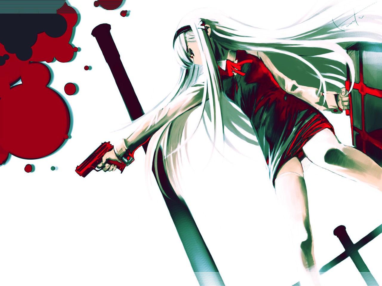Аниме картинки с кровью девушки с холодным оружием