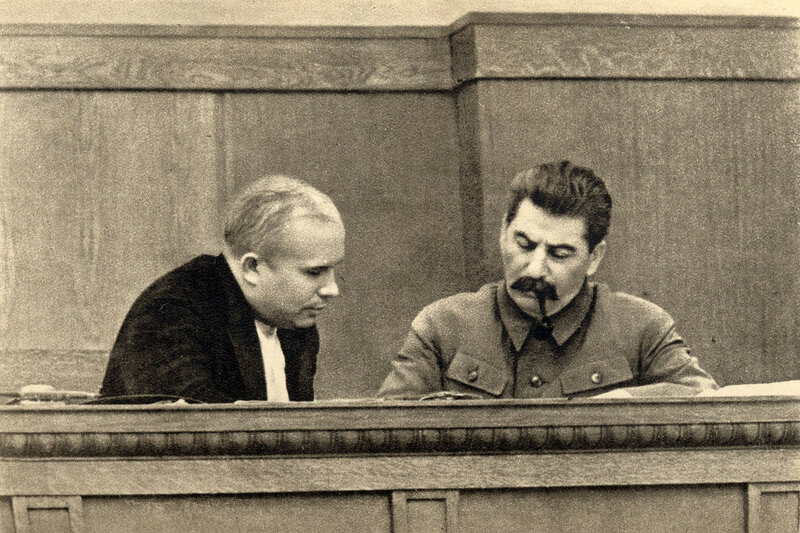 Joseph Stalin and Nikita Khrushchev in the presidium session of the CEC of the USSR 1936.jpg