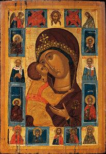 Богоматерь Умиление с избранными святыми на полях