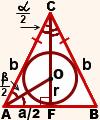 radius vpisannoy v ravnobedrennyiy treugolnik okruzhnosti