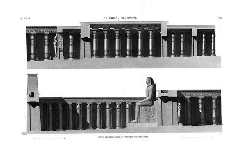 Рамессеум, храм фараона Рамсеса II, Египет, продольные разрезы передней части храма