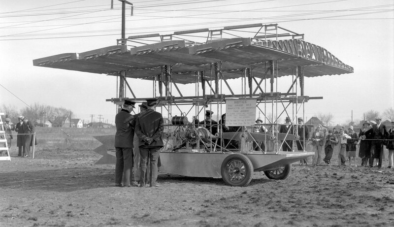 Experimental aircraft at the Gray Goose Airways hanger and plant, 4150 Josephine St., Denver, Colo., February 15, 1931