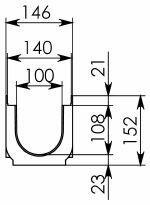 Лоток Gidrolica Pro DN100 H152 с пластиковой решеткой