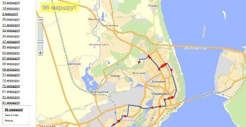 автобусов на карте города,