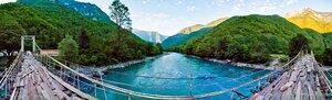 Мост по которому страшно было ходить панорама, Абхазия, свет, день