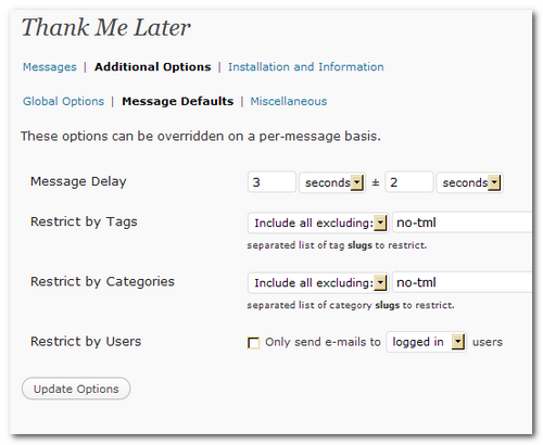 плагин для WordPress 'Thank me Later' plugin