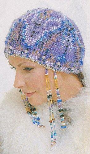 Вязание с бисером спицами берет,чехол для телефона,косметичка со.