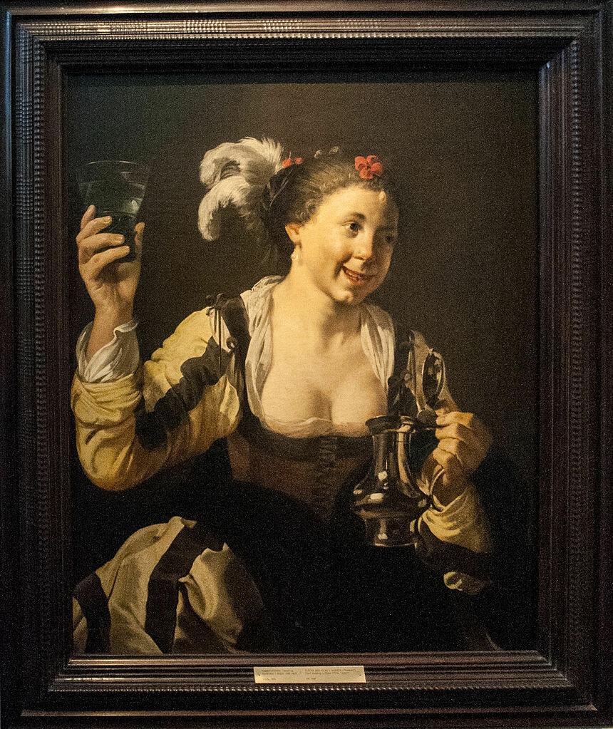 A Girl Holding a Glass Hendrick ter Brugghen (1588-1629)