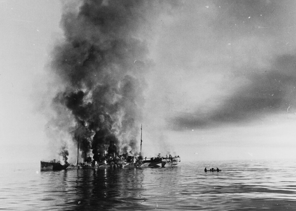 Russian Icebreaker ALEXANDER SIBIRIEKOV. A fire and sinking in the Barents Sea, North of Murmansk, after being attacked by the German cruiser ADMIRAL SCHEER, in August 1942