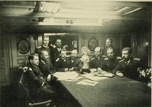 Группа офицеров в кают-компании крейсера Рюрик