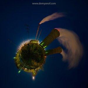 Планета заводов coordinates, микропланета, панорама, Чебоксары, Тэц-2, город, ночь, завод, маленькие миры