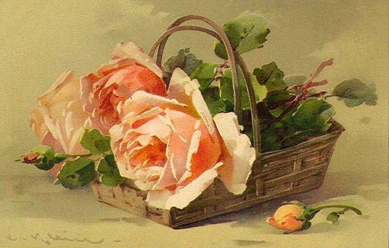 К. Кляйн. 76. Розовые розы в корзиночке.