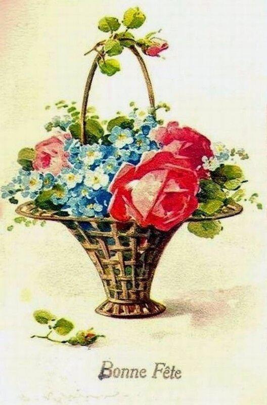 К. Кляйн. 156. Розы и незабудки в корзиночке.