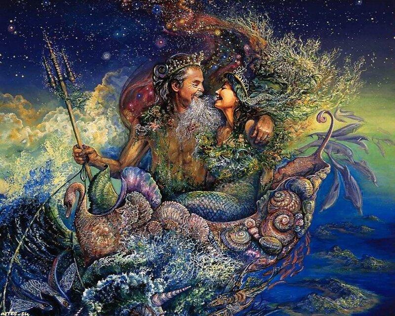 Скачать обои фэнтези, Нептун, бог морей, морская свадьба, Josephine Wall 800x600.