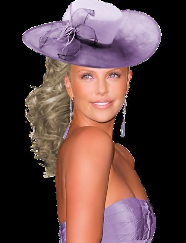 девушка в сиреневой шляпе