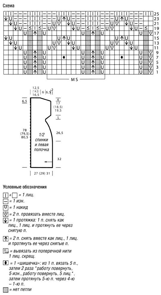 Связанный поперёк удлинённый жилет схема