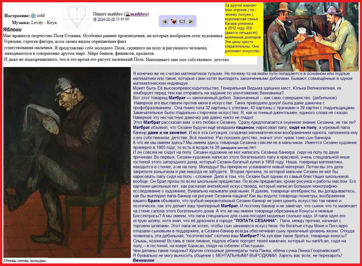 Отец художника . ок. 1865. Сезанн Поль (1839-1906). Пост