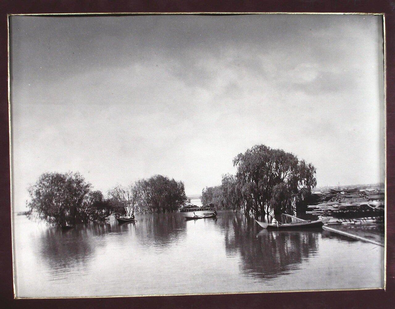 11. Вид лесных пристаней во время разлива реки Самары