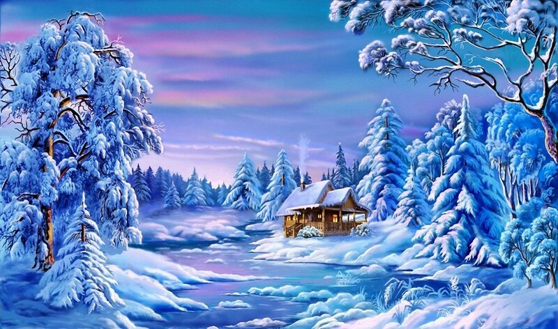 Времена года Зима Рисованые пейзажи - Природа Обои и Фото.