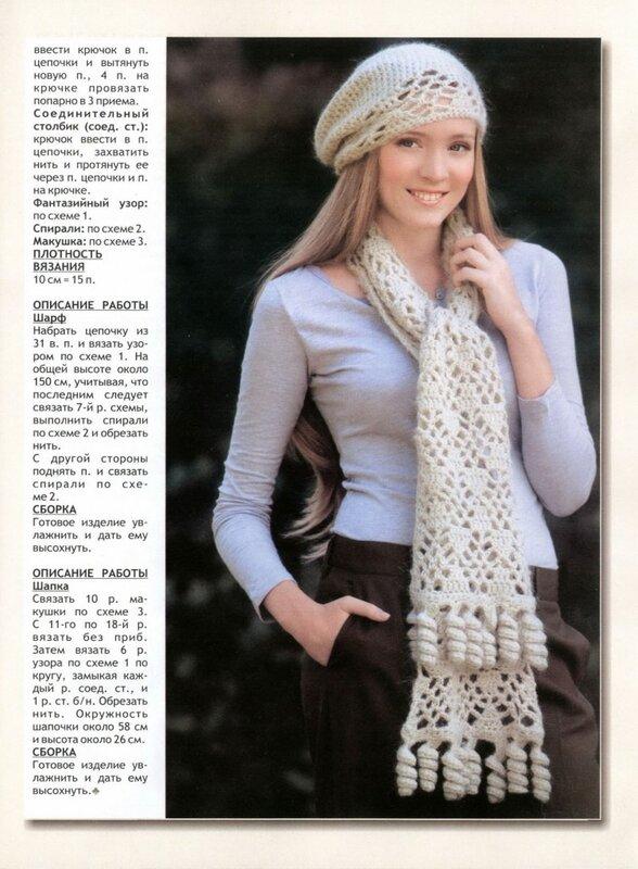 шарфы молодежные вязаные со схемами.