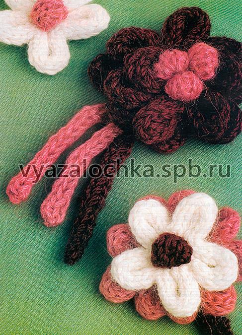 Цветы, связанные спицами