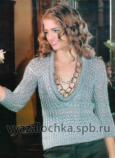 Нарядный пуловер с глубоким