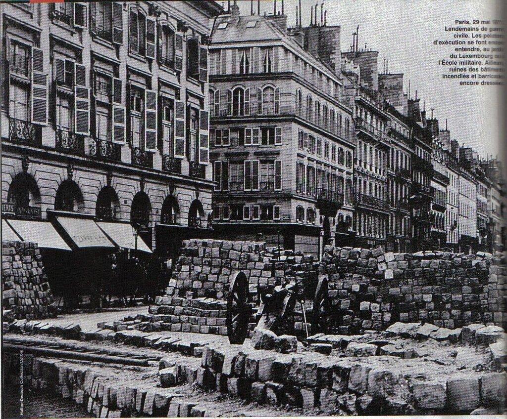 Barricades of the Commune, April 1871, at the Corner of the Place Hôtel de Ville,1871