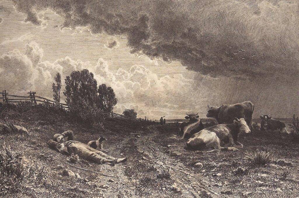 Летом в поле (Пастух со стадом). Первая половина 1860-х 28,4х42,9.jpg