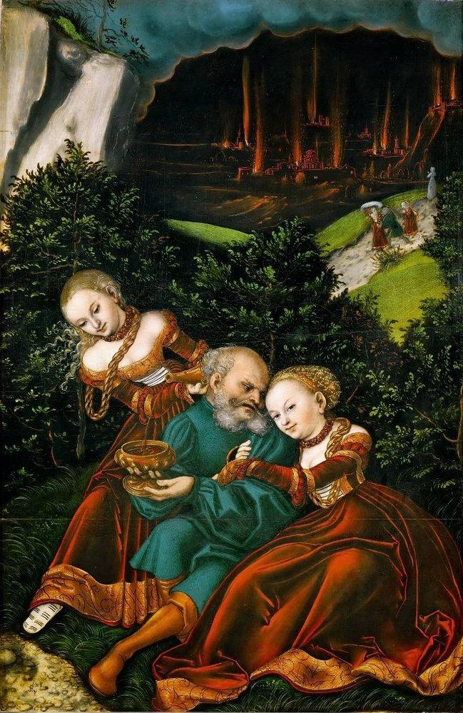 Лукас Кранах старший. Лот и его дочери. 1528