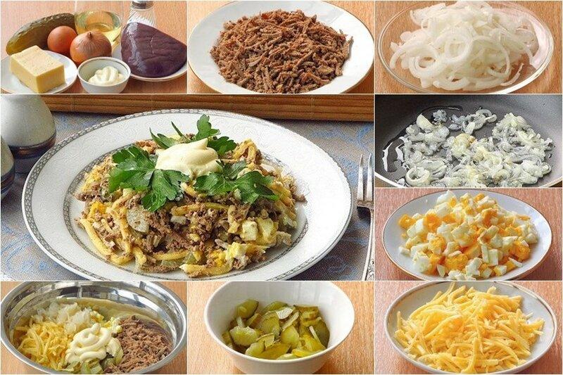Полезный и сытный салат из печени